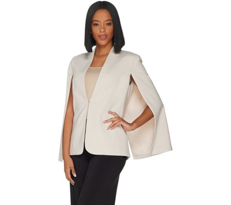 H by Halston Stretch Suiting Cape Blazer with Front Closure