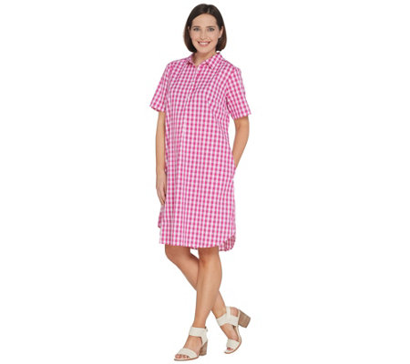 Joan Rivers Petite Length Short Sleeve Button Front Gingham Dress