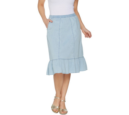 Denim Co Stretch Denim Pull On Skirt With Ruffle Hem