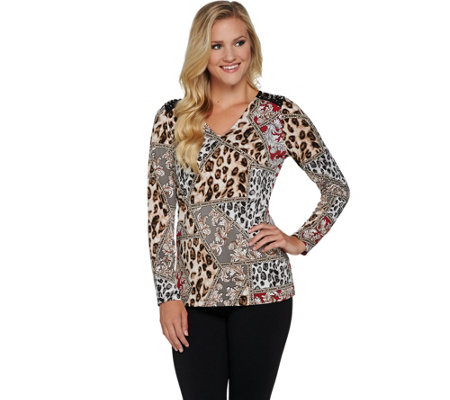 """As Is"" Susan Graver Artisan Printed Liquid Knit Embellished Top"