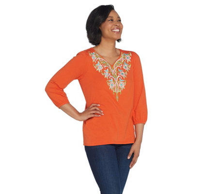 Bob Mackie's Tree of Life Embroidered Knit Top
