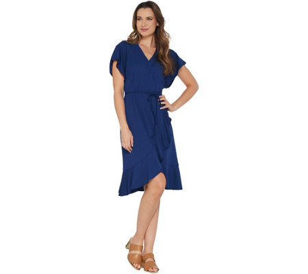 Isaac Mizrahi Live! Pebble Knit Wrap Dress with Ruffle Hem
