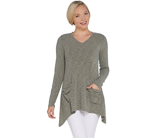 LOGO by Lori Goldstein Space Dye Ribbed V-Neck Long Sleeve Top