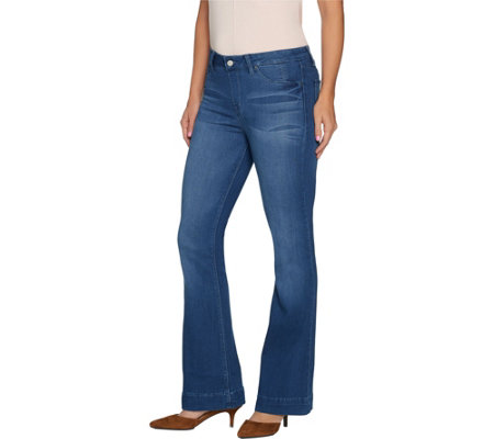 """As Is"" Laurie Felt Petite Silky Denim Flare Pull-On Jeans"