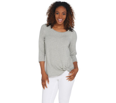 Belle by Kim Gravel Twisted Hem 3/4 Sleeve Lounge Top