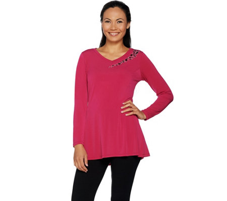 """As Is"" Belle by Kim Gravel Asymmetrical Sparkle V-Neck Tunic"
