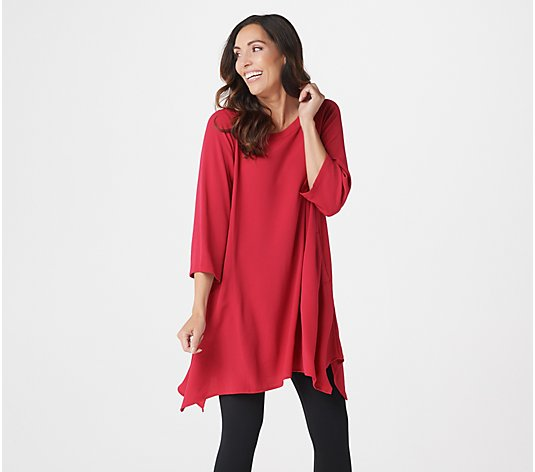 Linea by Louis Dell'Olio Petite Pebble Crepe Boatneck Tunic