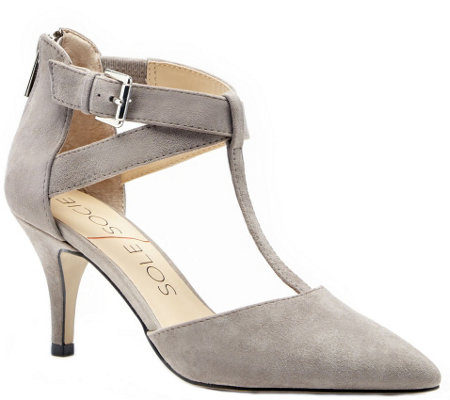 Sole Society T-Strap Leather Pumps - Avalon