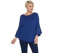 Quacker Factory Bell Sleeve Knit Tunic with Faux Pearl Detail - A343657