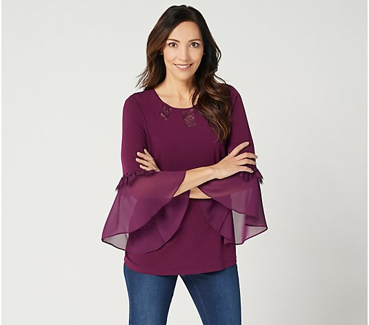 Susan Graver Liquid Knit Top with Sheer Chiffon Cuffs & Lace Insets