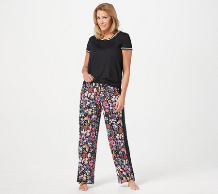 Cuddl Duds Cool & Airy Jersey Color- Block Print Pajama Set