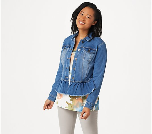 Belle by Kim Gravel TripleLuxe Denim Peplum Jean Jacket