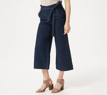 6cbf1040741 Du Jour Regular Paper Bag Waist Denim Culotte Crop Pants - A347557
