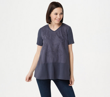 Logo Lavish By Lori Goldstein Cotton Modal Top With Embroidery