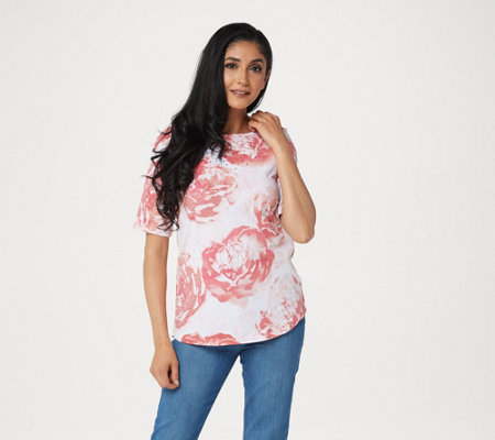 Quacker Factory Embellished Floral Printed Knit Top