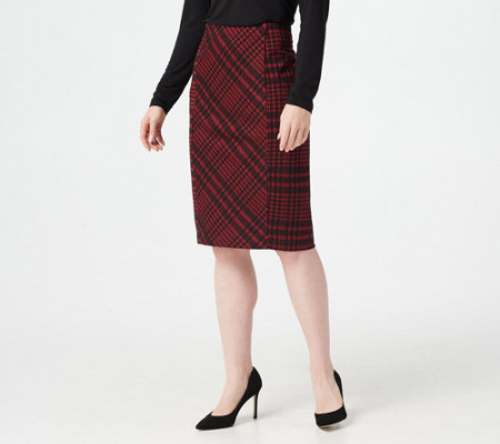 Susan Graver Jacquard Ponte Pull-On Pencil Skirt