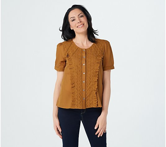 LOGO by Lori Goldstein Textured Woven Sheer Top with Eyelet Panels