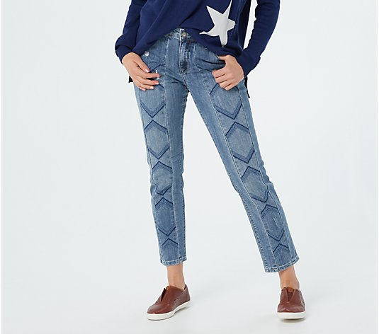 Laurie Felt Classic Denim Slim-Leg Embroidered Chevron Jeans