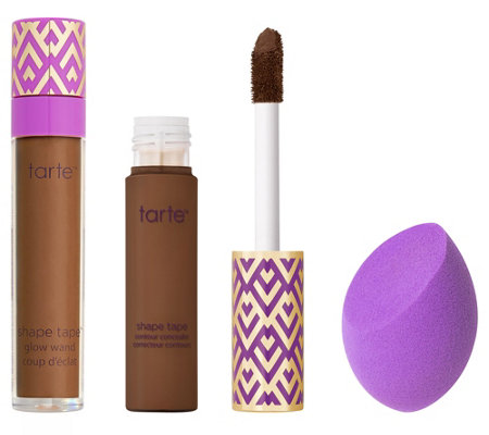 tarte Shape Tape Concealer, Glow Wand, and Sponge