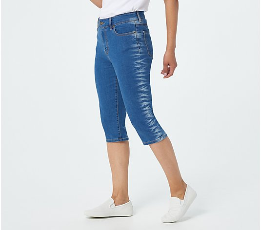 Denim & Co. 5-Pocket Pedal Pusher with Tie-Dye Detailing
