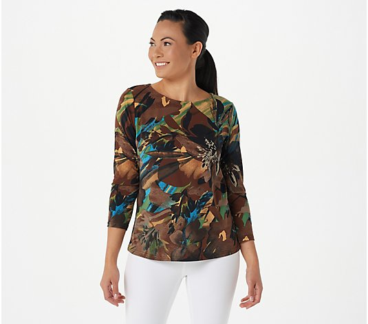 Bob Mackie Rainforest Print Knit Pullover Top