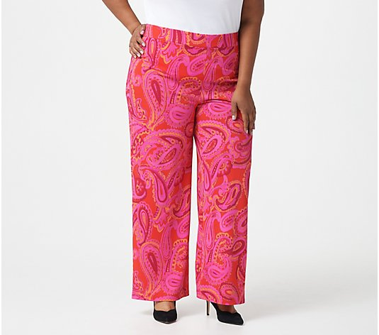 Isaac Mizrahi Live! Regular Pebble Knit Paisley Printed Pants