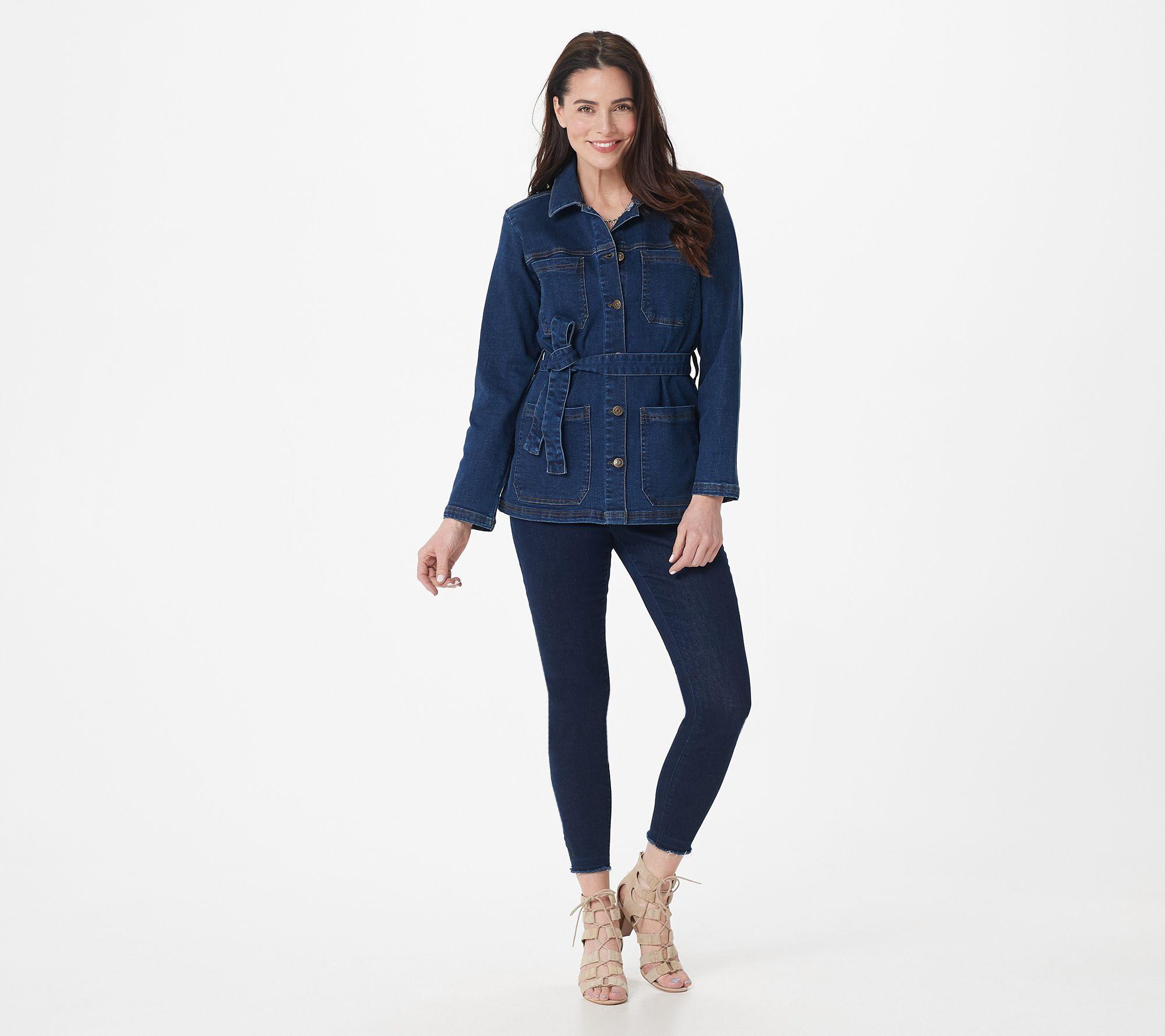 Quacker Factory DreamJeannes Tall Knit Denim Soft Coral 22 NEW A217496