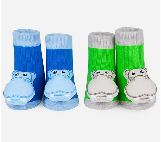 Waddle and Friends Two Pairs Hippo Baby RattleSocks