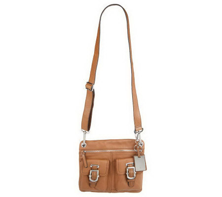 Etienne Aigner Leather Crossbody Bag W Front Pocket Detail