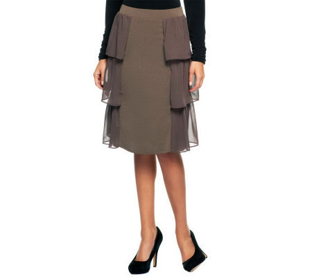 George Simonton Crystal Knit Pull-on Skirt w/Chiffon Tier