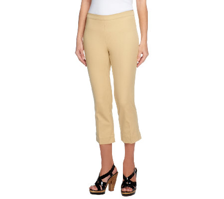 """As Is"" Isaac Mizrahi Live! 24/7 Stretch Petite Pull-On Crop Pants"