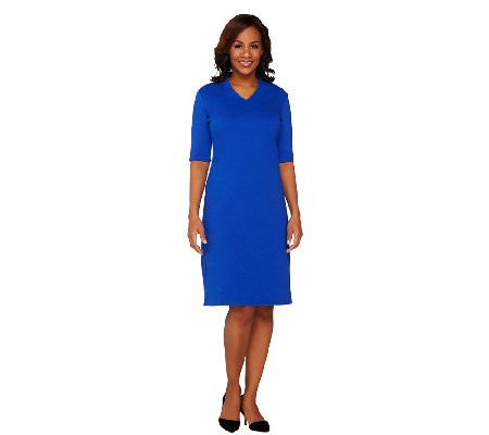 Liz Claiborne New York Essentials Ponte Knit V-Neck Dress
