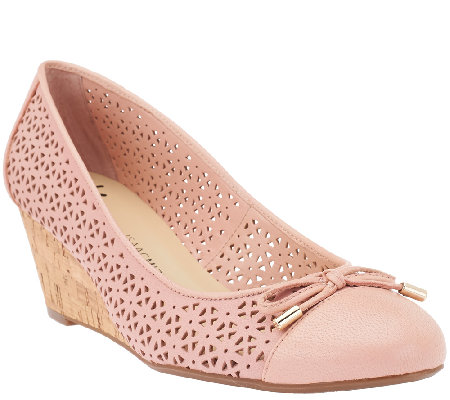 Isaac Mizrahi Live! Perforated Leather Cork Wedges