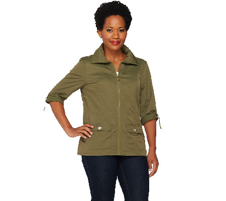 Denim & Co. Active Zip Front Lightweight Jacket