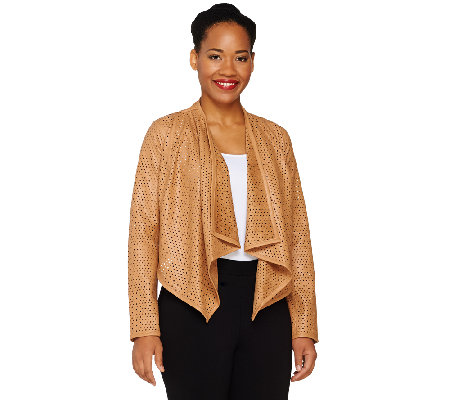 G.I.L.I. Faux Leather Open Front Perforated Jacket