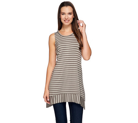 LOGO Layers by Lori Goldstein Striped Knit Top with Asymmetric Hem