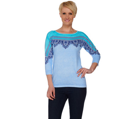 Bob Mackie's Printed Drop Shoulder Sleeve Knit Sweater