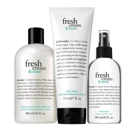 philosophy fresh cream & mint layering trio