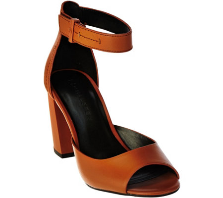 H by Halston Leather Block Heels with Adjustable Strap - Carina