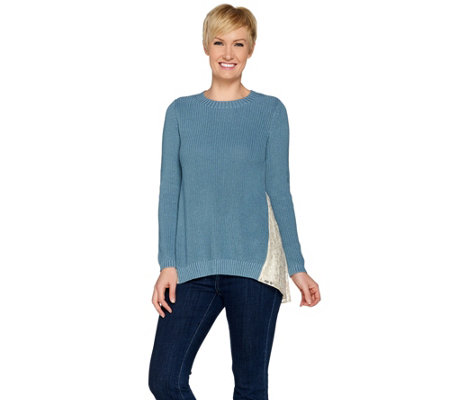 LOGO by Lori Goldstein Sweater Knit Top with Lace Godets