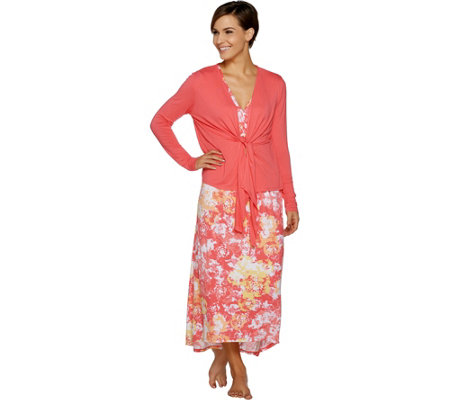 Carole Hochman Petite Woodblock Floral Lounge Dress Set