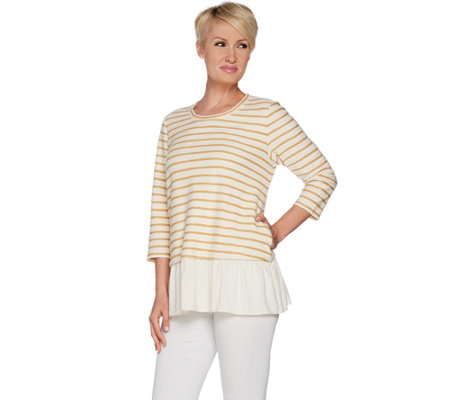 LOGO by Lori Goldstein Striped Boucle Top w/ Crinkle Gauze Hem