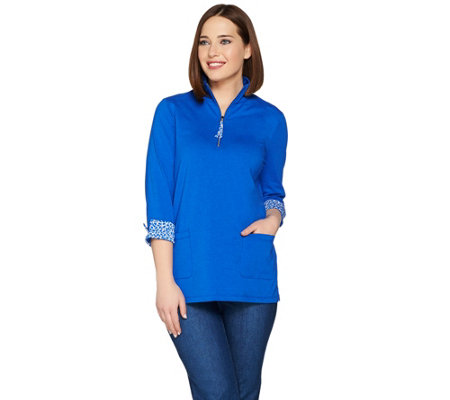 Susan Graver Weekend Stretch Cotton Modal Half Zip Tunic