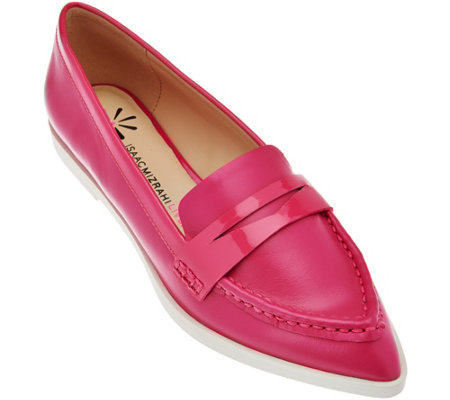 """As Is"" Isaac Mizrahi Live! Leather Featherweight Penny Loafers"