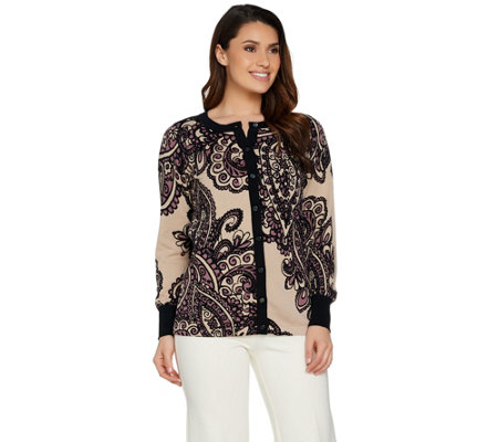 Bob Mackie's Placement Print Knit Cardigan