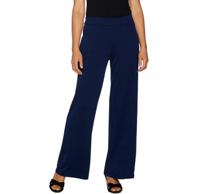 Isaac Mizrahi Live! Petite Pebble Knit Pull-On Wide Leg Pants