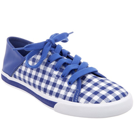 """As Is"" Isaac Mizrahi Live! Lace-Up Gingham Sneakers"