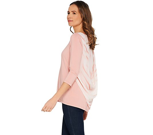 Lisa Rinna Collection 3/4 Sleeve Knit Top w/ Printed Chiffon Back