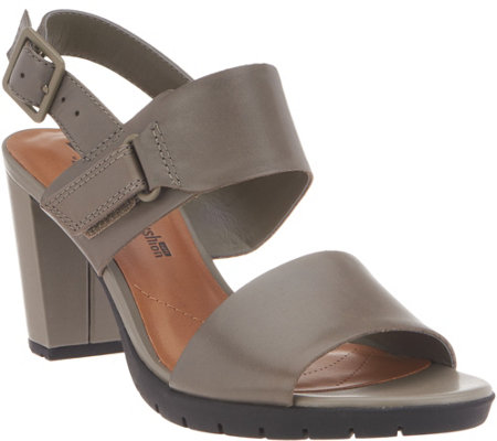 39fbcb77a5fb Clarks Leather Block Heel Adjustable Sandals - Kurtley Shine - Page ...