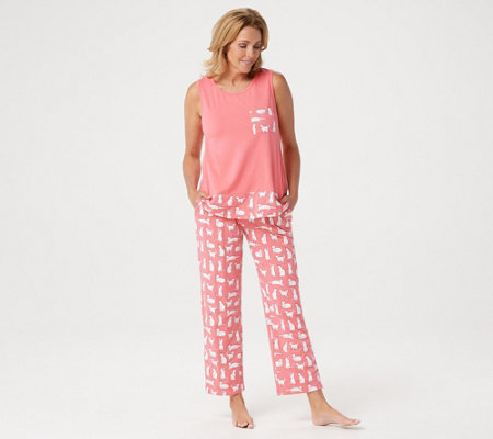 AnyBody Loungewear Cozy Knit Printed Pajama Set